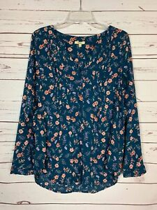 Kori-America-Boutique-Women-039-s-S-Small-Blue-Floral-Long-Sleeve-Cute-Tunic-Top