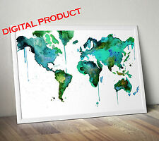 Watercolor World Map printable art  (DIGITAL)  five star quality