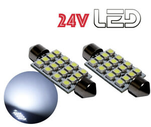 2-Ampoules-24V-navette-LED-Blanc-41mm-C10W-Camion-RENAULT-VOLVO-DAF-TRUCK-SCANIA