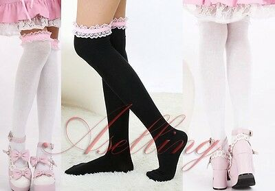 Japanese Girl Lace Knee Cosplay lolita Socks Thigh-High Hose Stockings S457