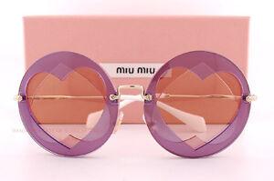 13bc81e49268 Brand New Miu Miu Sunglasses MU 01SS VA1 4M2 Purple Round Gold ...