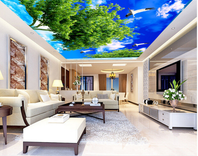 3D Trees Swans 53 Ceiling WallPaper Murals Wall Print Decal Deco AJ WALLPAPER UK