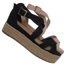 911f9086302c Infinity34 Espadrille Flatform Sandal - Women Strappy Platform Wedge Jute  Wrap