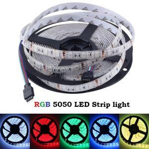 DC12V-5M-SMD-5050-RGB-White-Waterproof-300-LED-Flexible-3M-Tape-Strip-Light-US