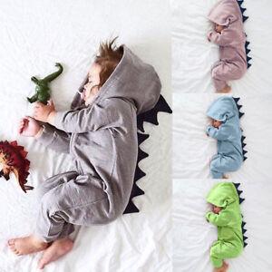8bb5fa26bb7e Newborn Infant Baby Cute Dinosaur Outfit Hooded Romper Bodysuit Soft ...