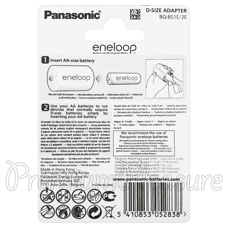 2 x Eneloop D Size Adapter Converts AA Battery Converter Spacer BQBS 1E