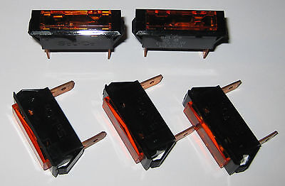 125V Neon Solico Series 33 Amber Rectangular Panel Mount Indicator Light