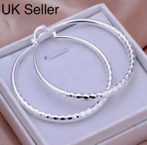 925-Sterling-Silver-Hoop-Earrings-Diamond-Pattern-Large-50mm-5cm-UK-Stock