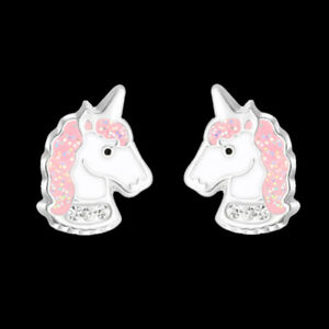 925-Sterling-Silver-Unicorn-Stud-Earrings-Pink-Glitter-Crystal-Kids-Girls-Child