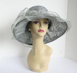 NEW Church Derby Wedding Lace & Organza Soft Dress hat Gray C-VF514