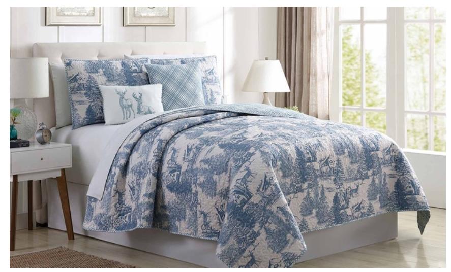 Quilt Comforter Set Reversible  Bettding Holiday Decor   Blau Toile 5 Pieces