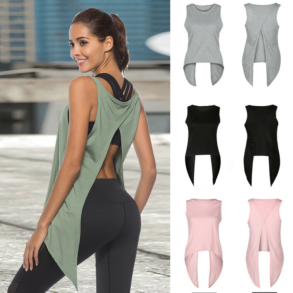 Women Workout Tank Top T-shirt Sport Activewear Gym Clothes Fitness Yoga Vests