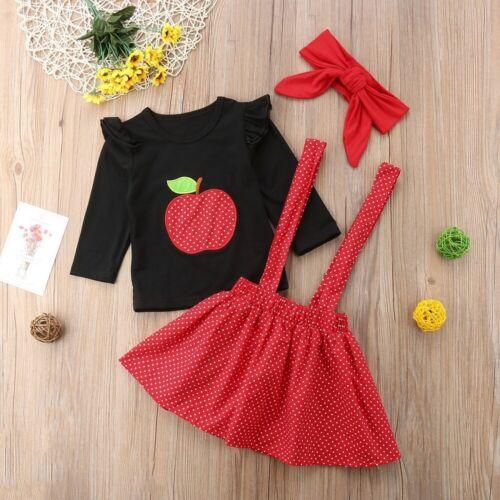 NEW Girls Apple Shirt Red Polka Dot Suspender Skirt Outfit Set Back to School