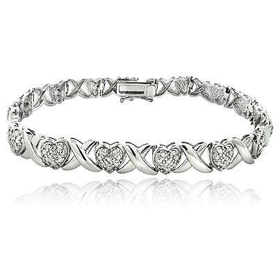 0.50Ct TDW Diamond X & Heart Bracelet in Brass