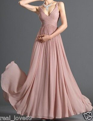 Stock Chiffon Floor Length Bridesmaid Dresses Formal Evening Dresse Size 6--16