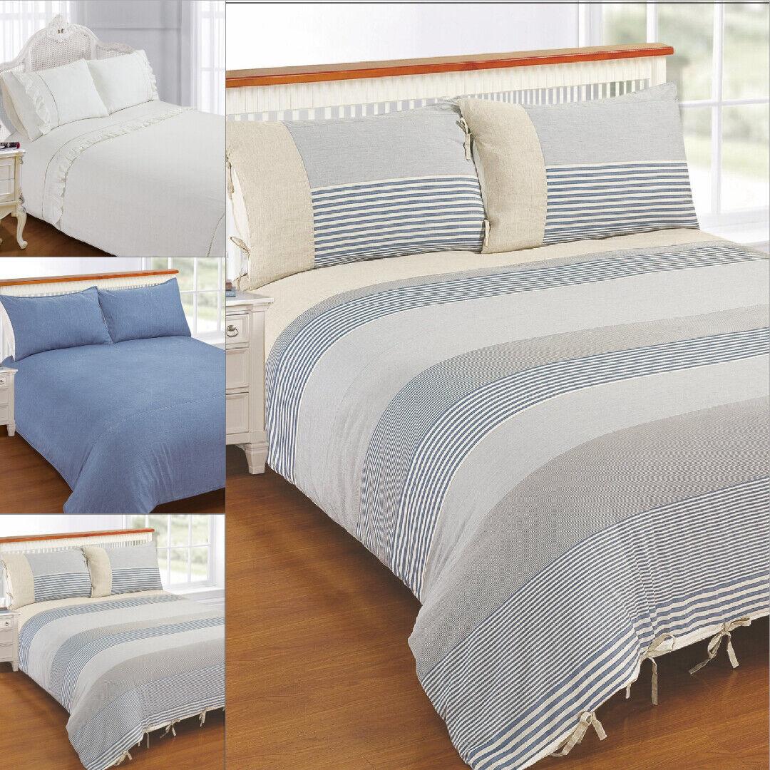 Exclusive Vintage French Linen 100% Cotton Stone Wash Duvet Startseite Bettding Set