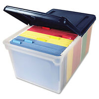 Innovative Storage Designs File Tote With Hinged Lid Letter Plastic Clear/navy on sale