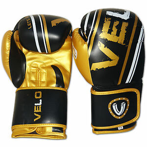 VELO-Piel-Artificial-Guantes-De-Boxeo-Punch-Saco-Lucha-MMA-Muay-Thai-Pelea