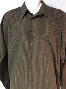 Members Only Mens Dress Shirt XLT Green Striped Ships Free