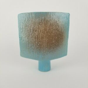 Mid Century Ikebana Vase Pottery Toyo Footed Blue Japan Japnaese Vtg 8in