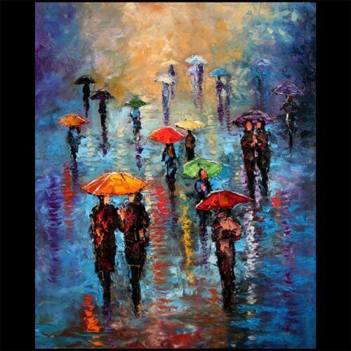 DLUHOS ART LTD EDITION CANVAS PRINT Rain LONDON FOG Umbrella City Sidewalk Blue.