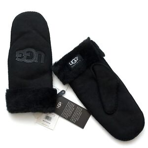 0b55809a7cb Details about NWT UGG Australia Black Shearling Logo Patch Mittens Size L/XL