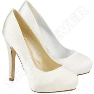 WOMENS WEDDING SHOES LADIES HIGH HEELS SATIN BRIDAL WHITE ...