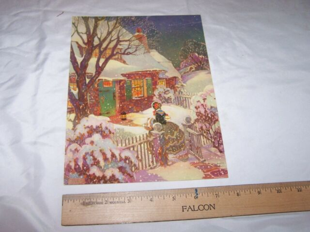 WPA Regionalist Pastoral Winter Scene Calendar Print Dale Nichols Modernist Era