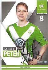 Autogramm Olympiasiegerin Babett PETER Frauen Fußball Karte v. VfL Wolfsburg