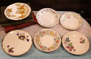 Vintage Lot of 6 Bone China Saucers Taylor & Kent Old Royal Albert Vale Stafford