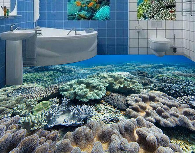 3D Coral Mer Fond d'écran étage Peint en Autocollant Murale Plafond Chambre Art