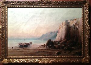 Antique-Oil-Painting-Seascape-French-Impressionist-painter-IZARIE-RIVIERE