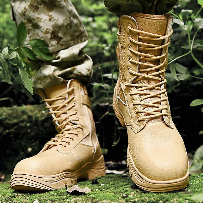 Homme en Cuir Militaire Tactique Armée Combat Non-Dérapant Bottes De Combat de plein air Chaussures