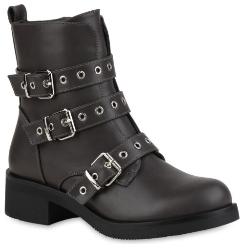Damen Stiefeletten Biker Boots Nieten Blockabsatz Schuhe 891930 Trendy Neu