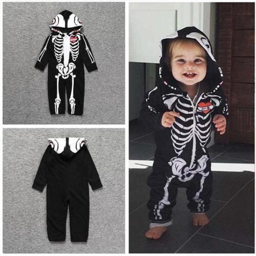 New Year Newborn Baby Girl Boy Costume Skeleton Romper Bodysuit Jumpsuit Outfit