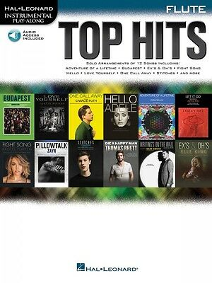 Instruction Books, Cds & Video Top Hits Flute Instrumental Play-along Book And Audio New 000171073 Low Price