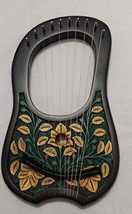 Cc Harpe Lyra à 10 Métal Cordes Rosewood Main Gravé Couleur Noir/lyre Harpe-afficher Le Titre D'origine Avec Des MéThodes Traditionnelles