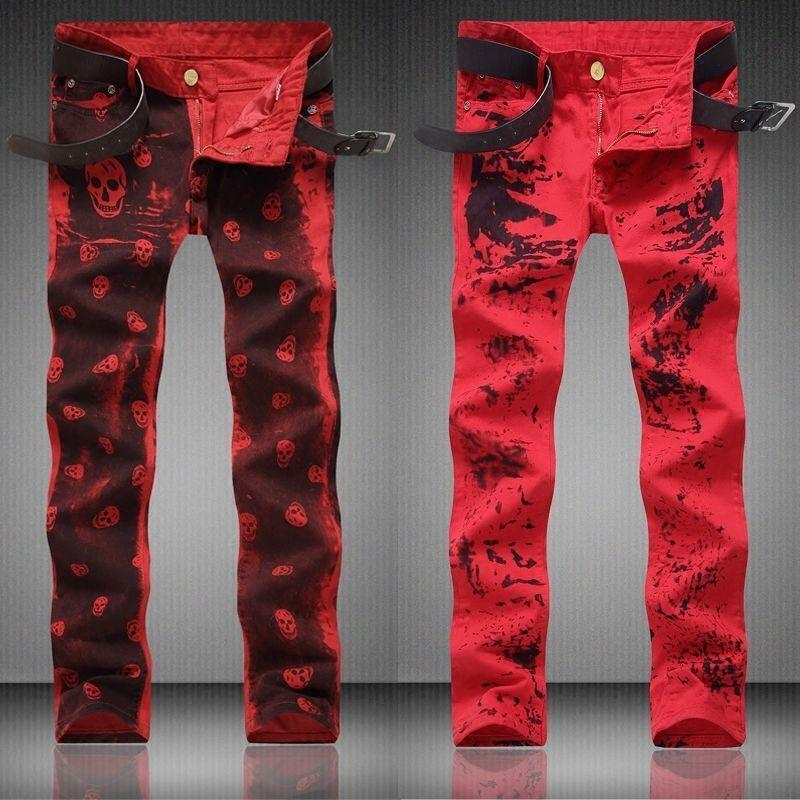 Red Mens Stylish Straight Trousers Pencil Pants Skulls Printing Stage Punk T457
