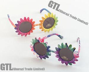 New Adult 60s Sunflower Hippy Hippie Festival Sunglasses Fancy Dress Accessory