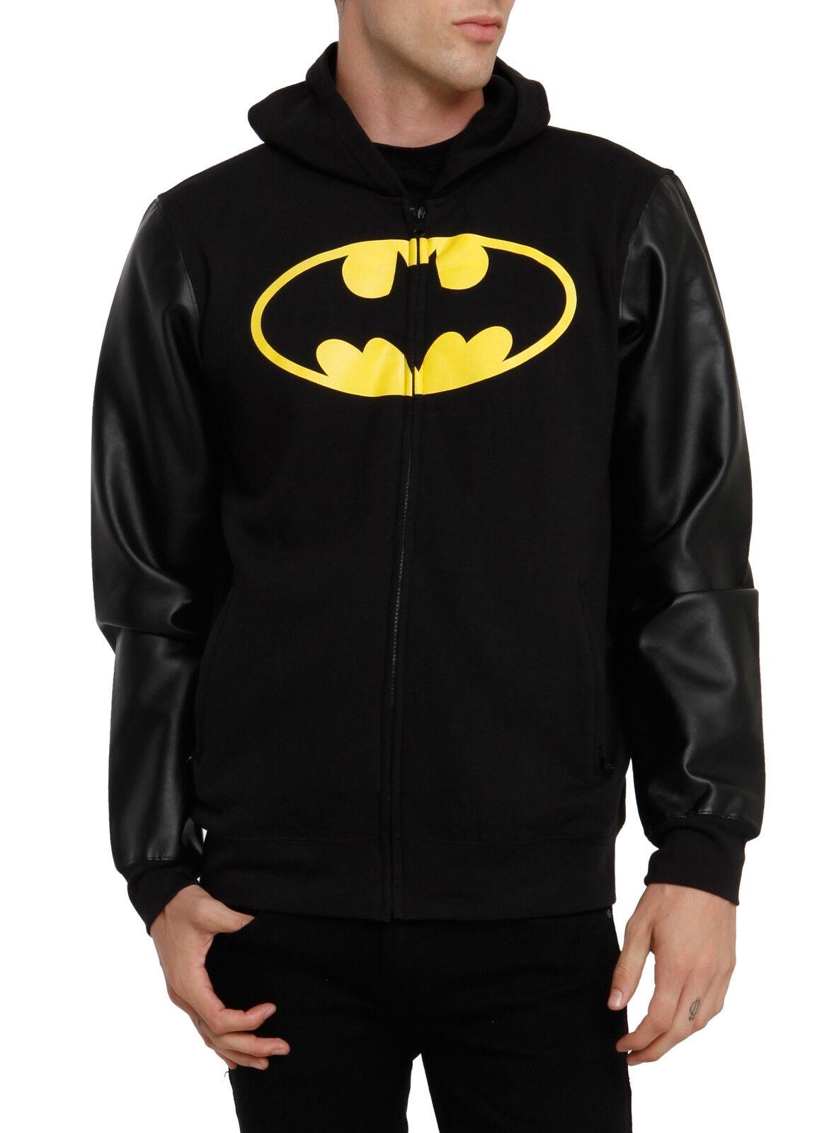 DC Comics BATMAN Faux Leder Sleeve Zip Up Hoodie NWT Licensed & Official