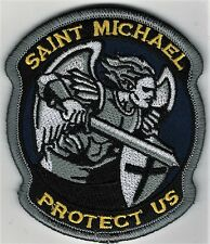 "3 1/2"" Full Color Gray St. Saint Michael Protect Us Morale Patch Hook Fastener"