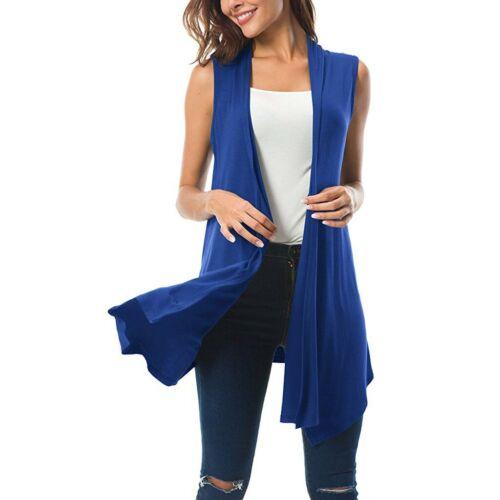 Women Sleeveless Draped Open Front Cardigan Tops Vest Asymmetric Hem Blouse New