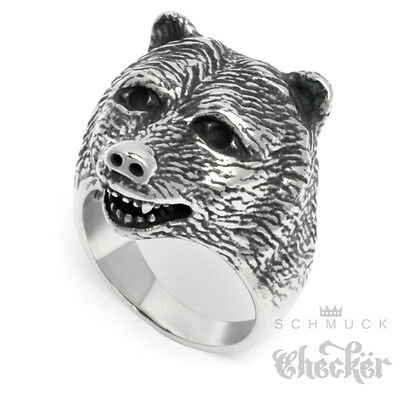 Massiver Edelstahl Ring silber hochwertig Bär Bärenkopf Grizzly Biker Indianer