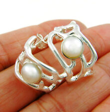 Sterling 925 Silver and Pearl Half Hoops Earrings