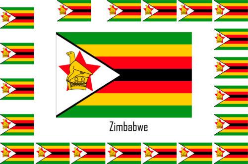 Assortiment lot de 25 autocollants Vinyle stickers drapeau Zimbabwe