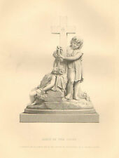 Children, Early At The Cross, by J. Adam Acton, Vintage, 1874 Antique Art Print.