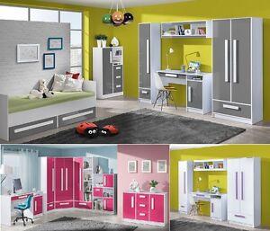 Jugendzimmer Kinderzimmer komplett GEROME Set C 7-tg HOCHGLANZ weiß ...