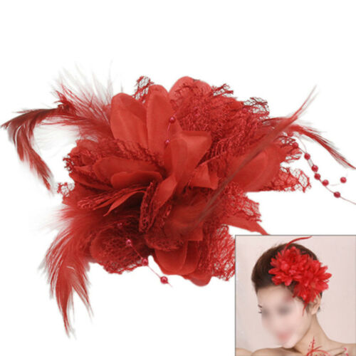 Damen Rot Blumen Fascinator Haar Clip Blumenbrosche Corsage Geschnürt Feder