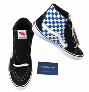 VANS-SK8-HI-PRO-CHECKERBOARD-BLACK-BLUE-SKATE-SHOES-MENS-SZ-11-NEW-NIB