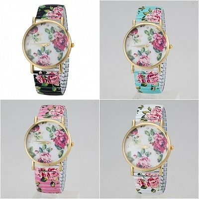 Floral Vintage Women's Fashion Elastic Strap Bracelet Quartz Analog Wrist Watch